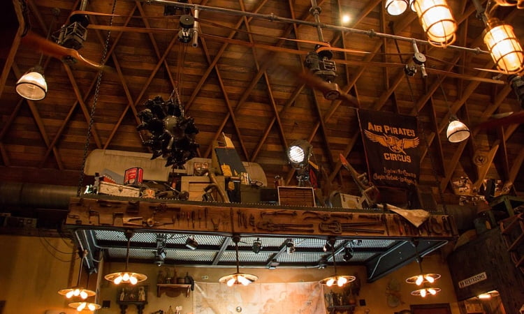 interior of jock lindsey's hangar bar in disney springs orlando