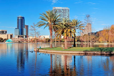 a landscape of Orlando, Florida from Lake Eola