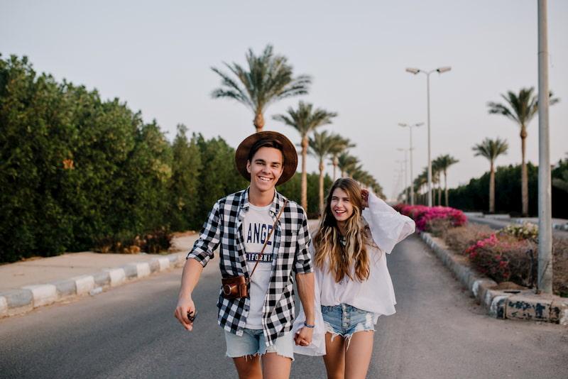 a couple take a walk down an orlando street