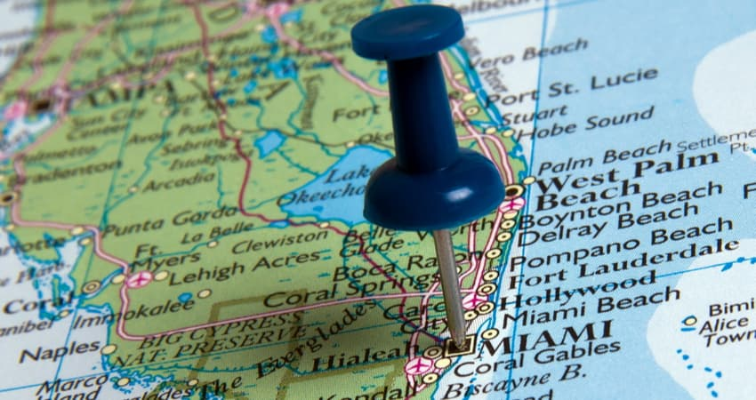 pin on a map of miami