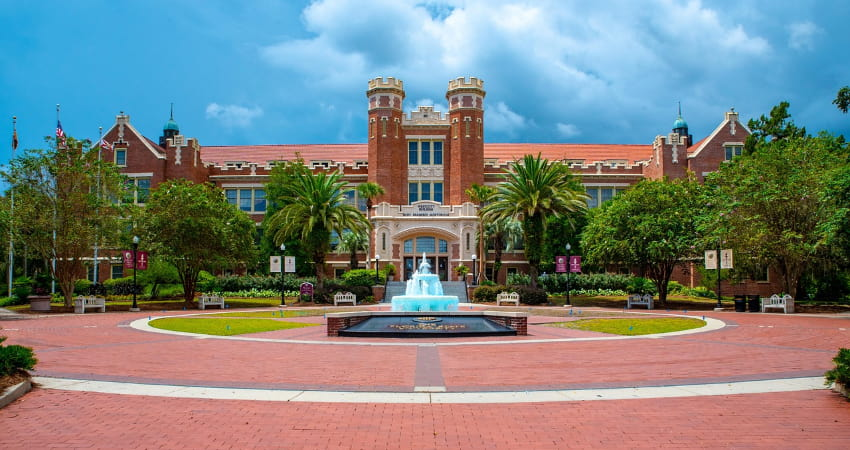 westcott building and wescott fountain at florida state university