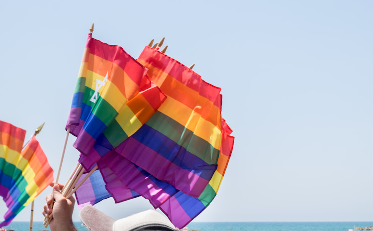 A hand holds many small rainbow flags into the sky