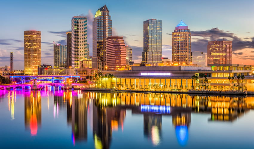 tampa waterfront in the evening