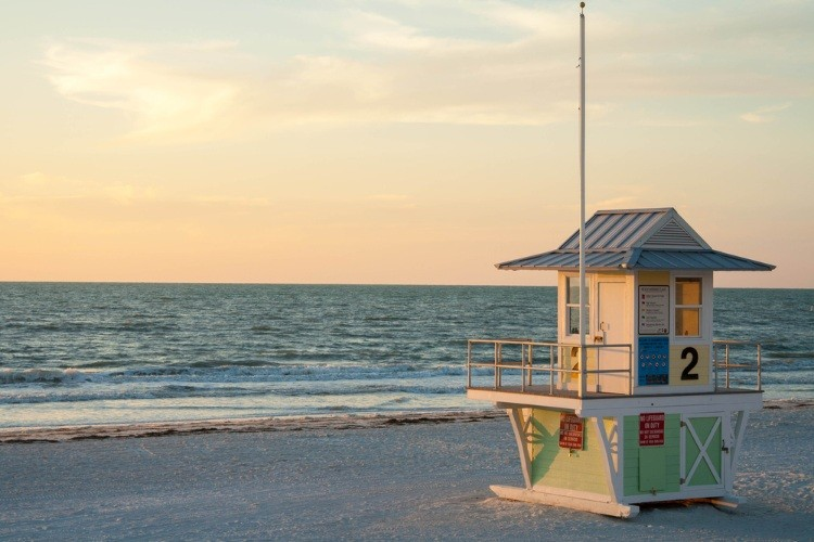 Lifeguard tower on Clearwater Beach at sunset