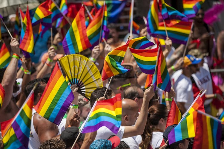 People marching in Miami Pride Parade