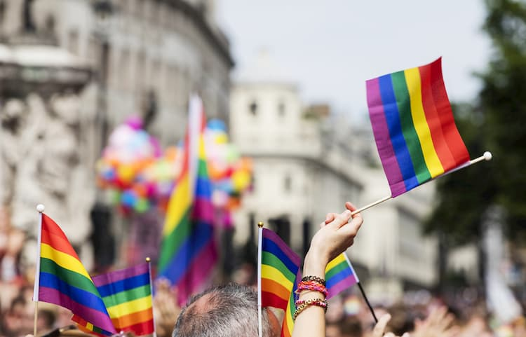 parade-goers wave rainbow flags during pride