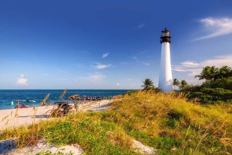 A daytime view of the Cape Florida Lighthouse in Miami, Florida