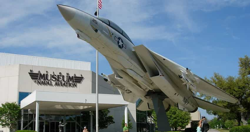A Grumman YF-14A Tomcat mounted outside the National Museum of Naval Aviation in Pensacola