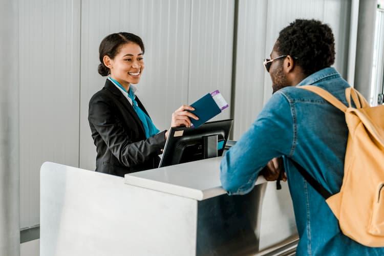Man checking in at airport