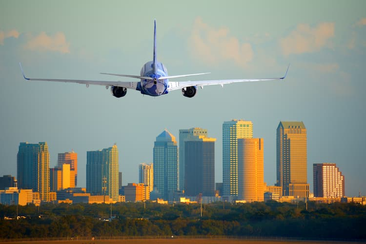 Plane approaching skyline of Tampa