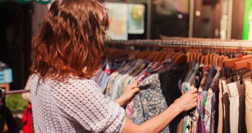 A young woman shopping at a vintage store