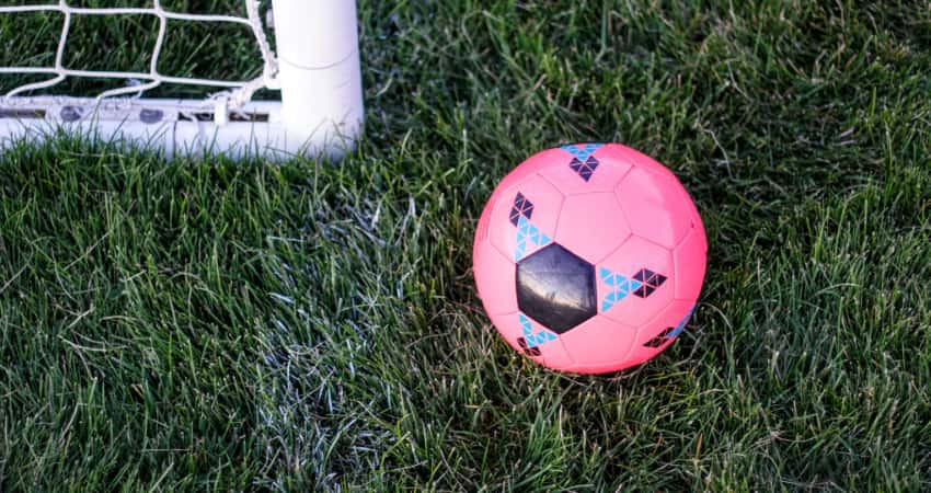 A pink soccer ball rests near a goal post on a green soccer field