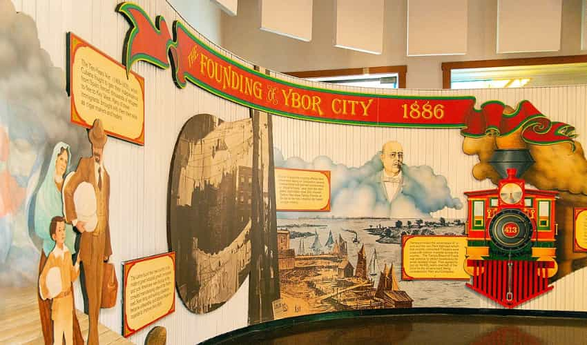 An exhibit about the founding of Ybor City in the Ybor City Museum State Park
