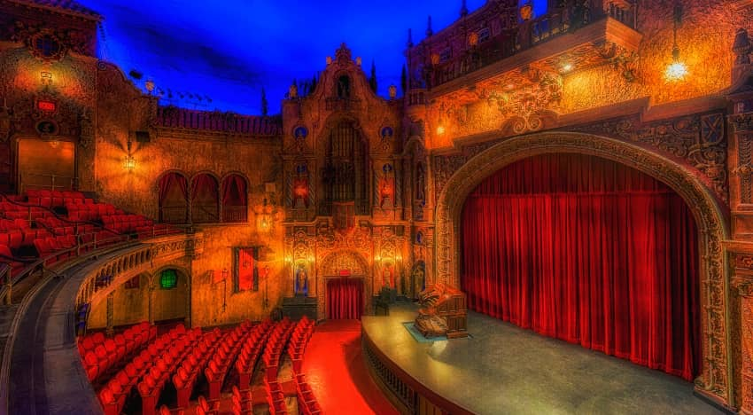 Interior of the Tampa Theatre in dim lighting